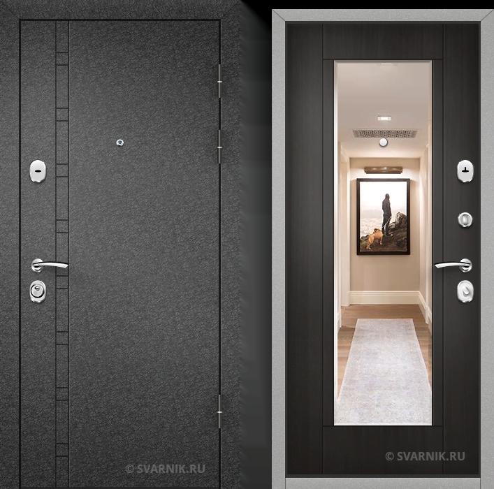 Дверь металлическая с зеркалом в дом порошковая - винорит