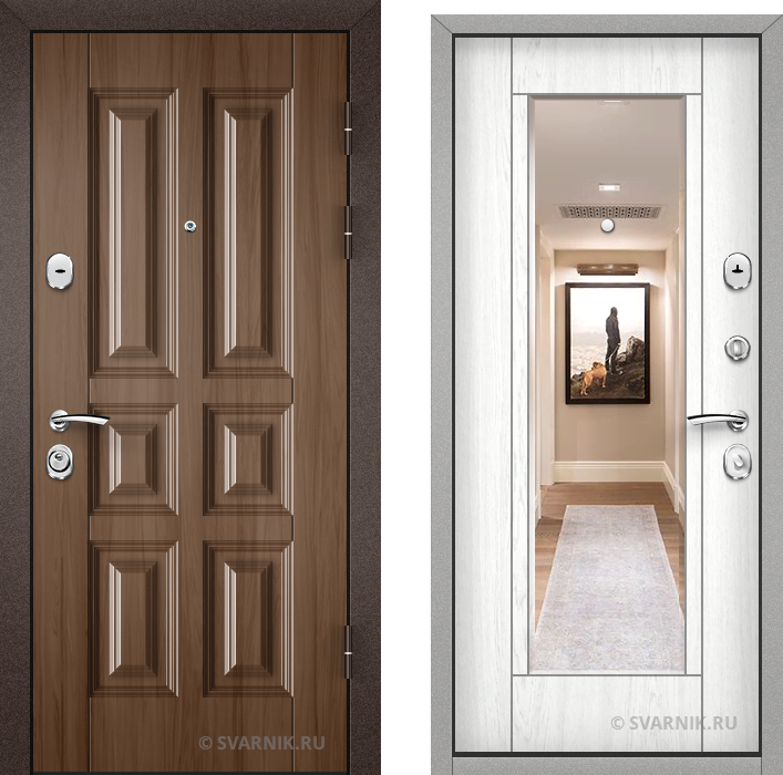 Дверь металлическая с зеркалом в коттедж МДФ - шпон
