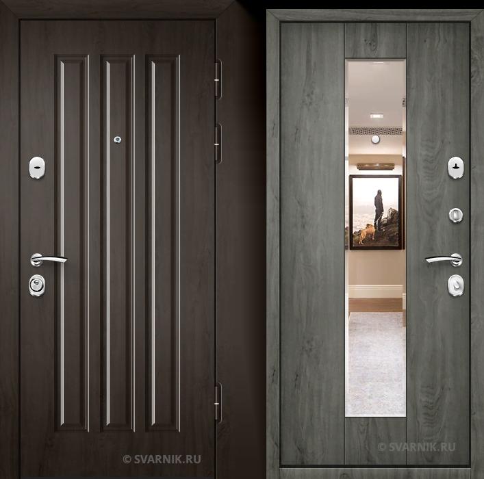 Дверь металлическая с зеркалом в коттедж винорит - винорит