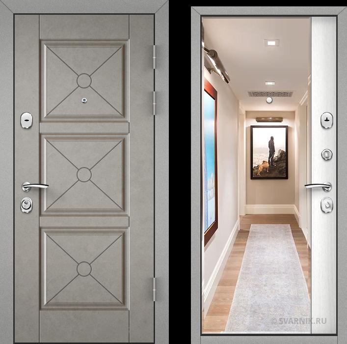 Дверь металлическая с зеркалом в дом шпон - винорит