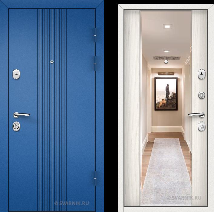 Дверь металлическая с зеркалом в коттедж порошковая - шпон