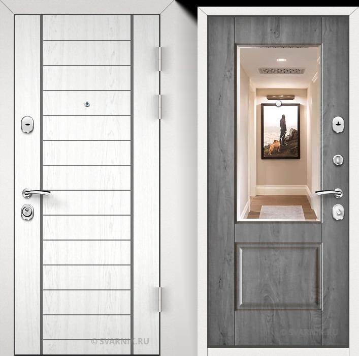 Дверь металлическая с зеркалом в квартиру МДФ - винорит