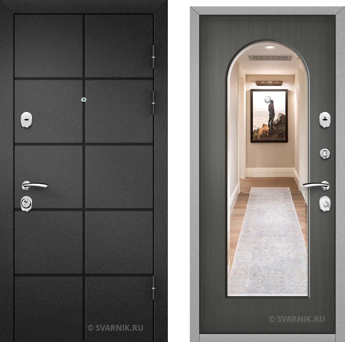 Дверь металлическая с зеркалом на дачу порошковая - шпон
