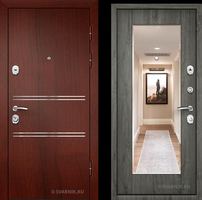 Дверь металлическая с зеркалом уличная ламинат - винорит