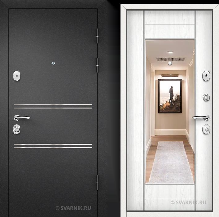 Дверь входная с зеркалом в офис порошковая - МДФ