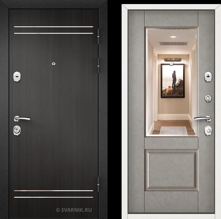 Дверь входная с зеркалом на дачу ламинат - МДФ