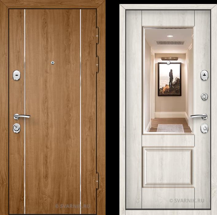Дверь входная с зеркалом в дом ламинат - массив