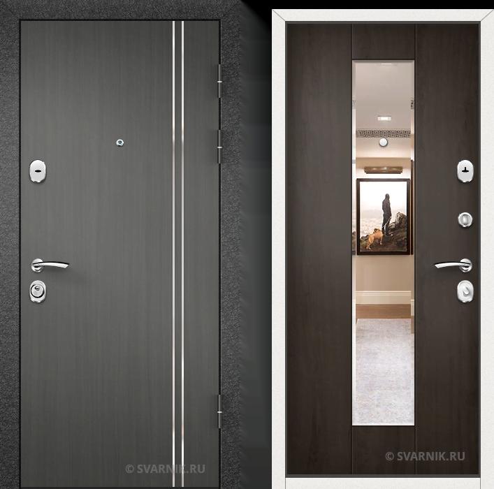 Дверь металлическая с зеркалом в офис шпон - винорит