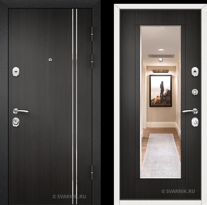Дверь входная с зеркалом в квартиру ламинат - МДФ