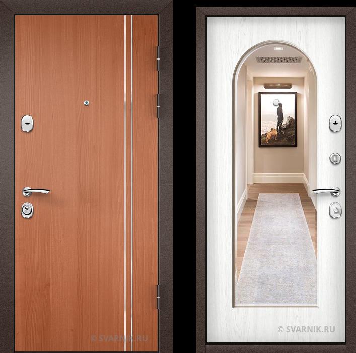 Дверь металлическая с зеркалом в коттедж ламинат - винорит