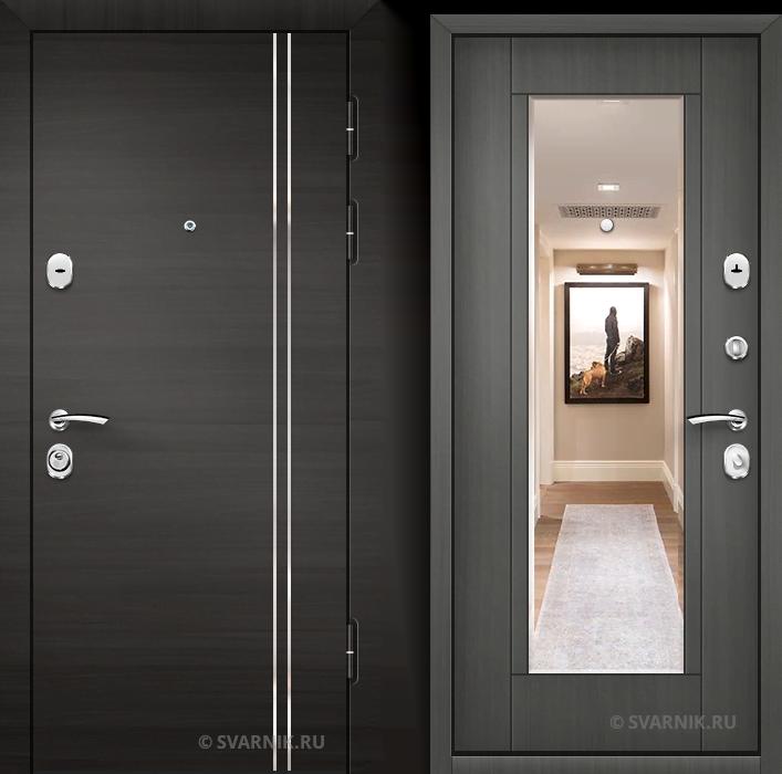 Дверь входная с зеркалом в офис МДФ - массив