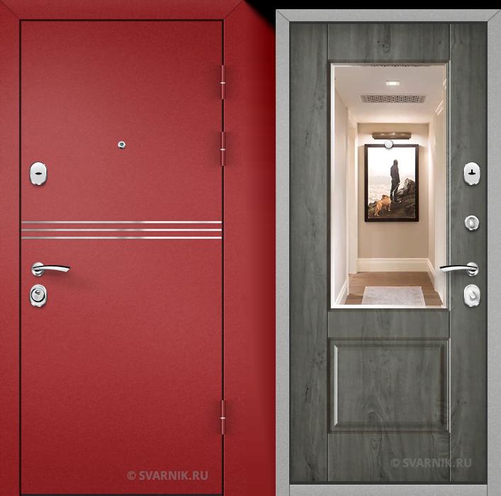 Дверь входная с зеркалом уличная порошковая - массив