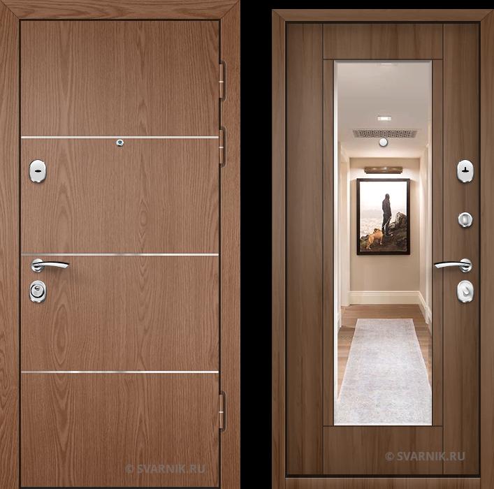 Дверь металлическая с зеркалом на дачу ламинат - шпон
