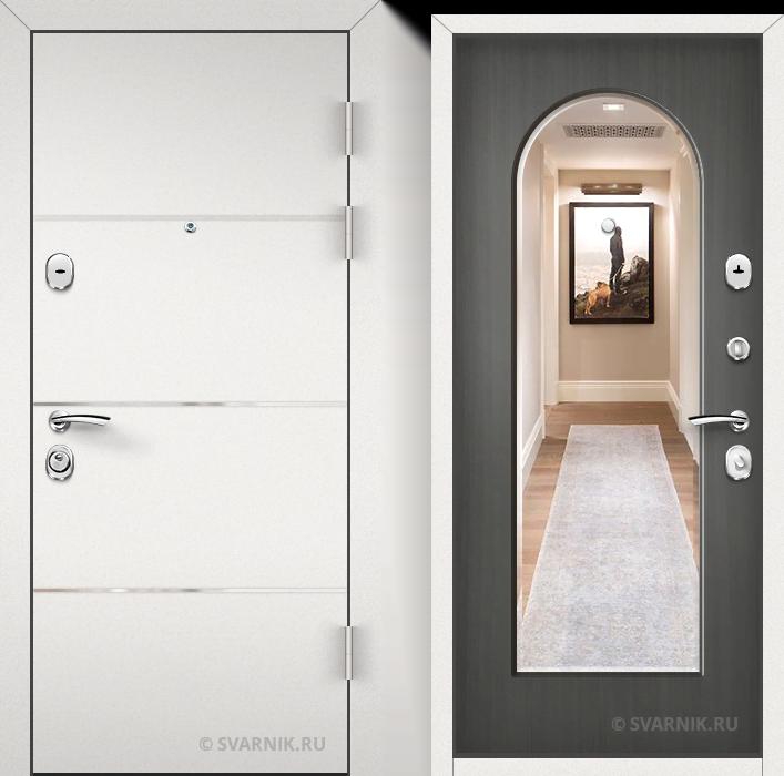 Дверь входная с зеркалом в квартиру порошковая - массив