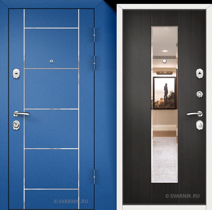Дверь металлическая с зеркалом в квартиру порошковая - винорит