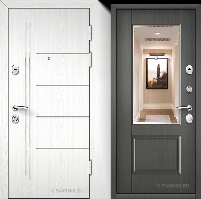 Дверь входная с зеркалом в дом шпон - массив