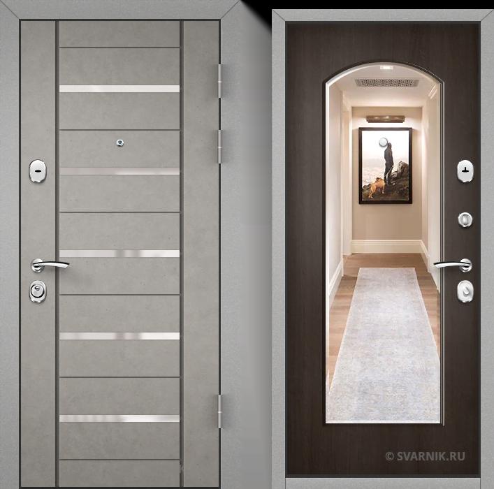 Дверь входная с зеркалом на дачу шпон - массив