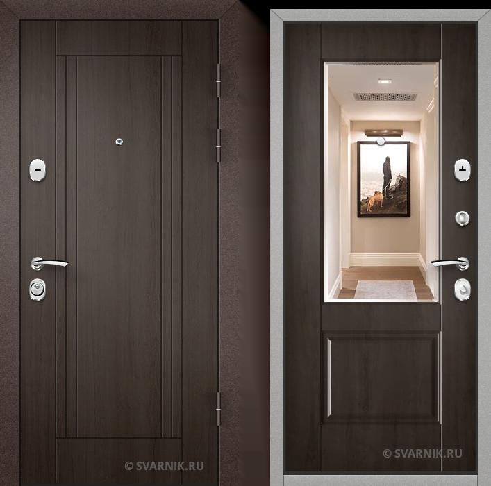 Дверь входная с зеркалом в дом шпон - МДФ