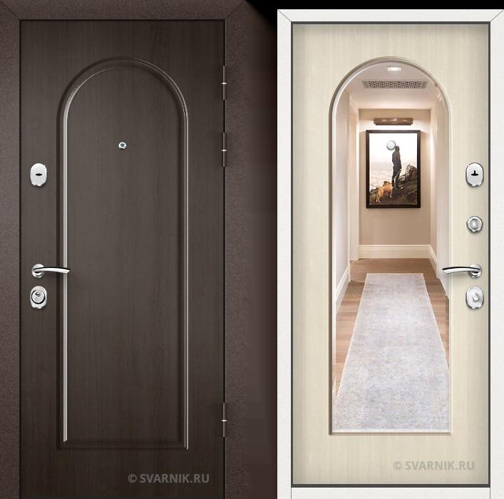 Дверь входная с зеркалом в коттедж массив - МДФ