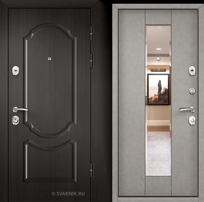 Дверь металлическая с зеркалом в квартиру МДФ - шпон