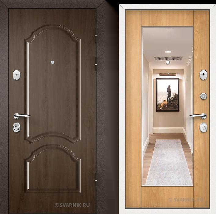 Дверь металлическая с зеркалом уличная МДФ - винорит