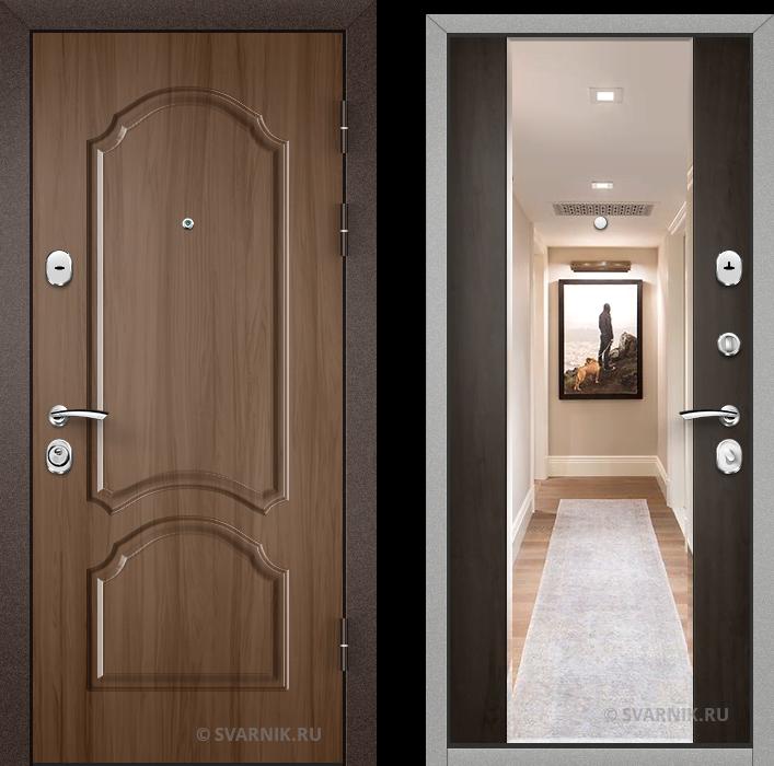 Дверь входная с зеркалом уличная винорит - массив