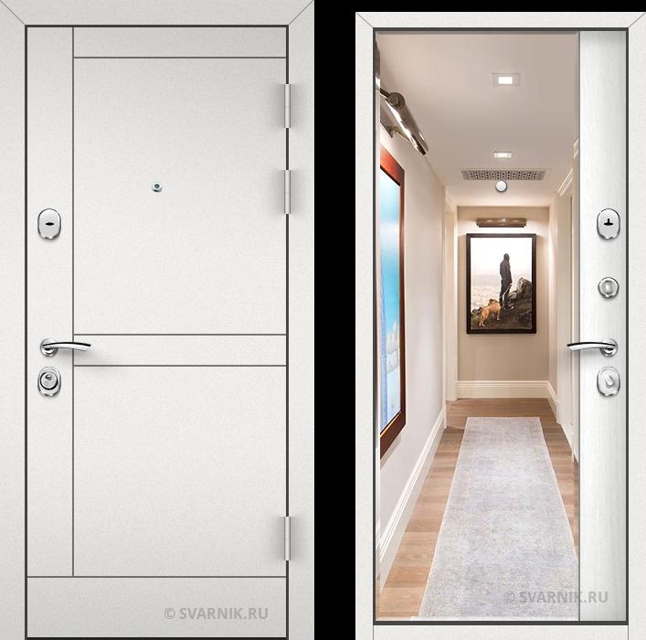 Дверь входная с зеркалом в коттедж порошковая - МДФ