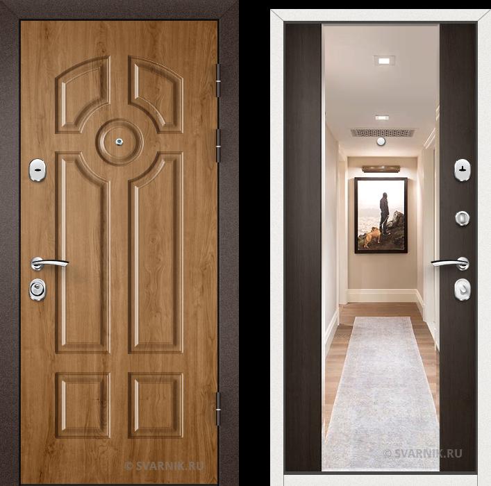 Дверь входная с зеркалом в коттедж шпон - массив