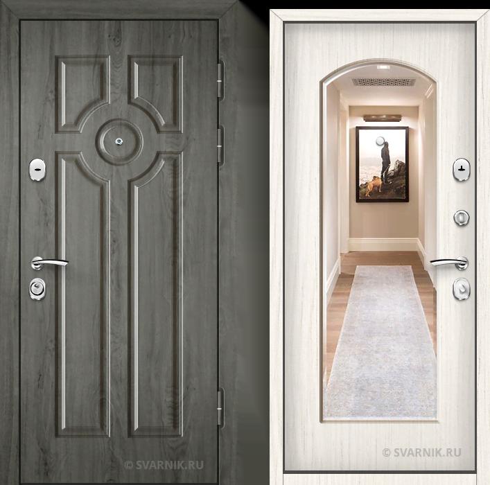 Дверь металлическая с зеркалом в квартиру винорит - шпон