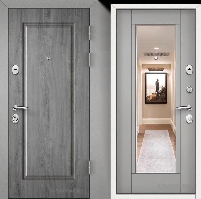 Дверь входная с зеркалом в коттедж МДФ - МДФ