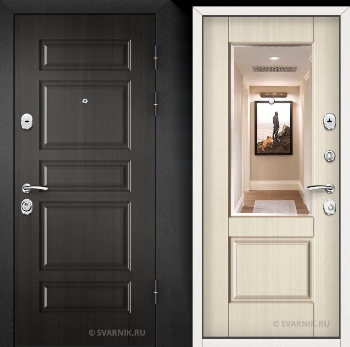 Дверь металлическая с зеркалом в квартиру шпон - шпон