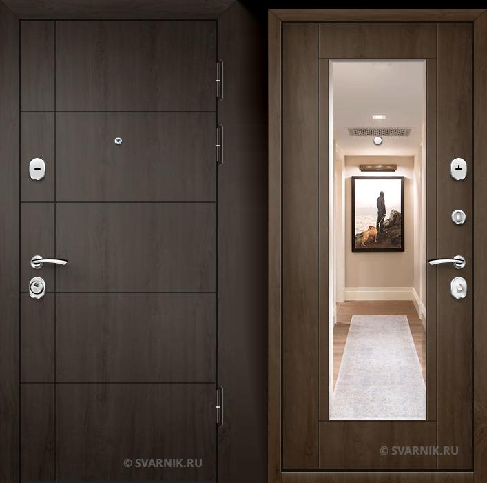 Дверь входная с зеркалом в дом МДФ - МДФ