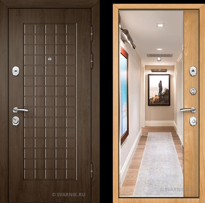 Дверь металлическая с зеркалом в квартиру шпон - винорит