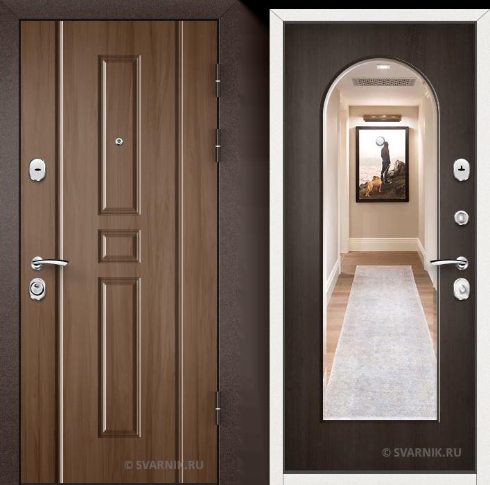 Дверь металлическая с зеркалом уличная винорит - шпон