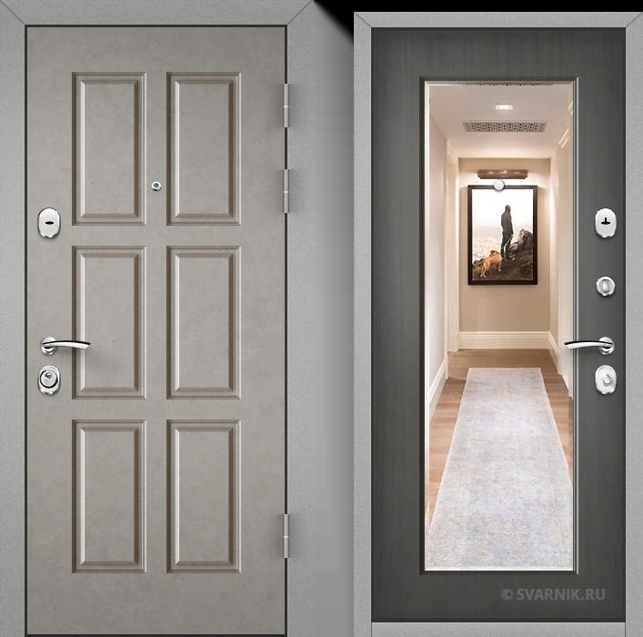 Дверь металлическая с зеркалом в офис МДФ - шпон