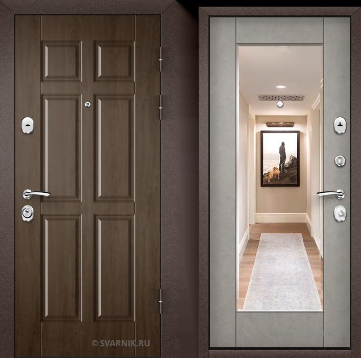 Дверь металлическая с зеркалом в квартиру массив - винорит