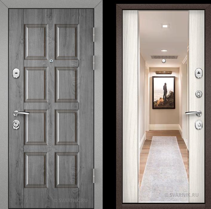 Дверь металлическая с зеркалом в дом массив - винорит